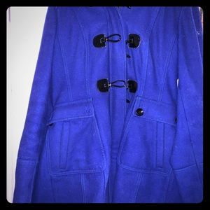 Blue pea coat with a hood